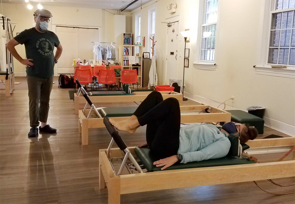 Private Pilates session at Wild and Woolly Pilates in Louisville KY following all COVID-19 d=safety measures